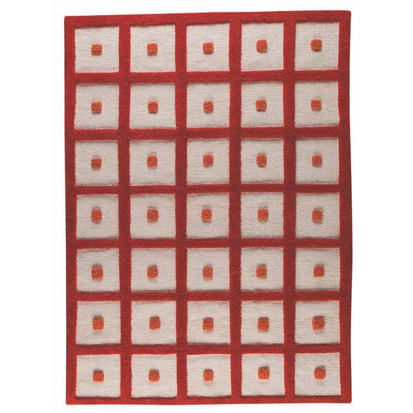 M.A.Trading Hand-woven Frame Orange Wool Rug (4'6 x 6'6) (India)