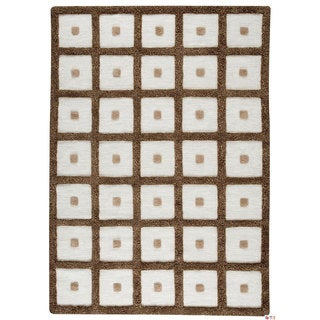 M.A.Trading Hand-woven Frame Brown Wool Rug (5'6 x 7'10)