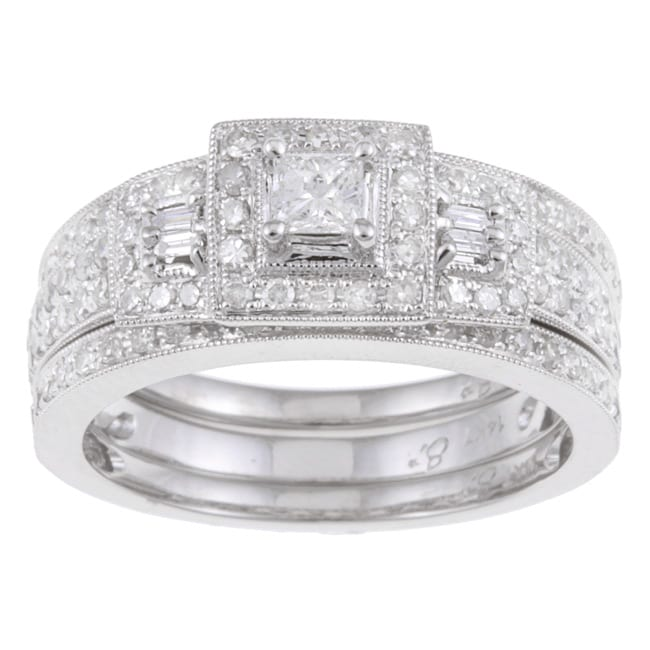 14k White Gold 7/8ct TDW Diamond Halo Bridal Ring Set