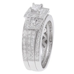 14k White Gold 7/8ct TDW Diamond Halo Bridal Ring Set - Thumbnail 1