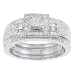 14k White Gold 7/8ct TDW Diamond Halo Bridal Ring Set|https://ak1.ostkcdn.com/images/products/5113787/14k-White-Gold-7-8ct-TDW-Diamond-Halo-Bridal-Ring-Set-I-J-I2-P12964419.jpg?impolicy=medium