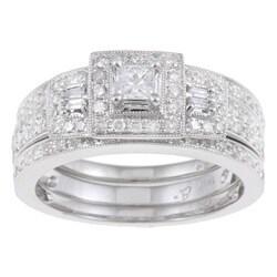 14k White Gold 7/8ct TDW Diamond Halo Bridal Ring Set
