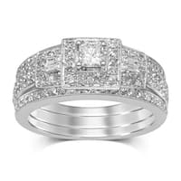 Unending Love 14k White Gold 7/8 ctw Diamond (I-J Color, I2-I3 Clarity) Bridal Set Rings