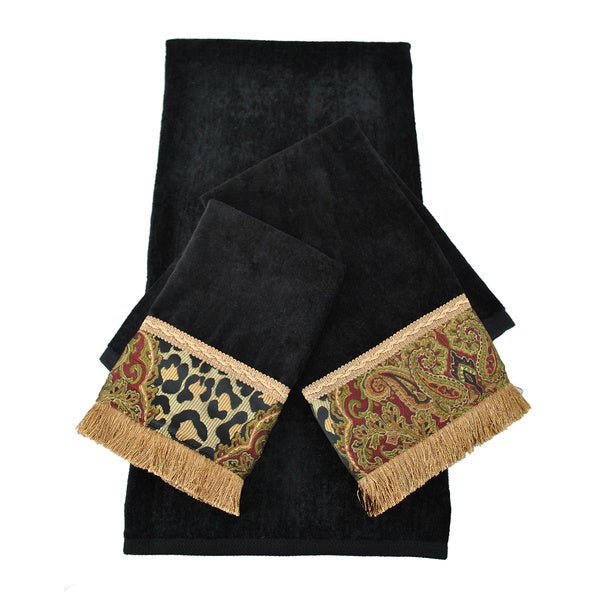 Sherry Kline Tangiers Black Decorative 3-pieceTowel Set