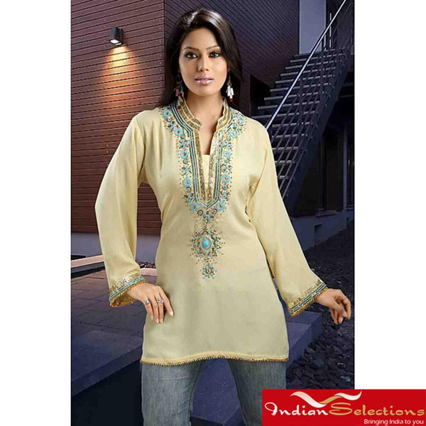 Handmade Soft Crepe Light Yellow Kurti (India)
