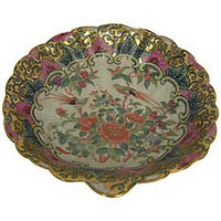 Rose Medallion Porcelain Scallop Dish