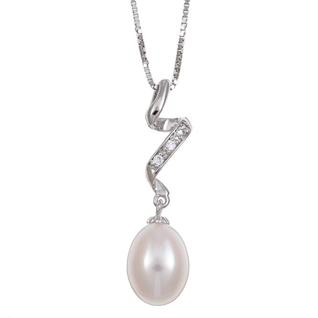 Kabella Sterling Silver White Freshwater Pearl and Cubic Zirconia Necklace
