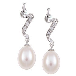 Kabella Sterling Silver White Freshwater Pearl and Cubic Zirconia Earrings - Thumbnail 0
