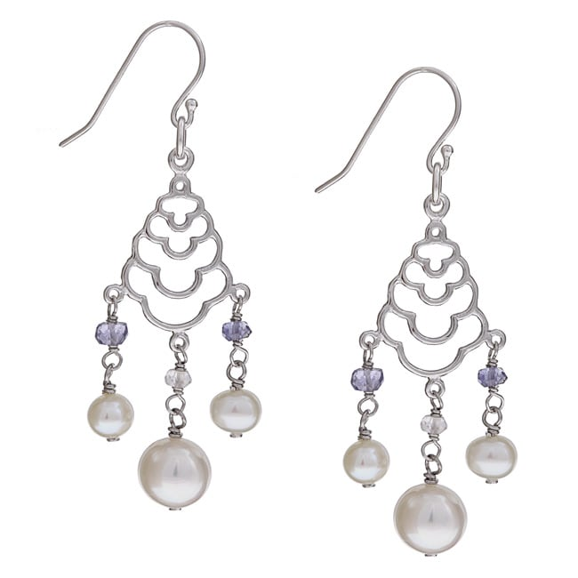 Kabella Sterling Silver White FW Pearl and Cubic Zirconia Earrings (5-8.5 mm)