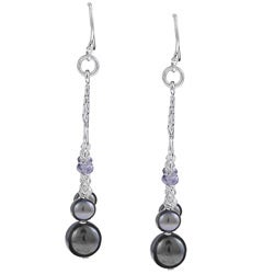 Kabella Sterling Silver Black FW Pearl and Cubic Zirconia Earrings (5-8.5 mm)