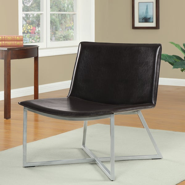 Melrose Dark Brown Bonded Leather Lounge Chair
