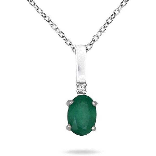 Marquee Jewels 10k White Gold Emerald and Diamond Pendant (I-J, I1-I2)