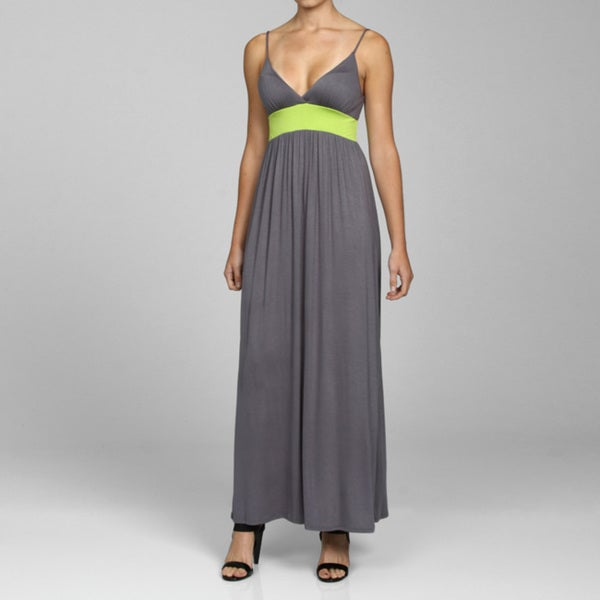 Shop Velvet Torch Junior S Grey Empire Waist Maxi Dress