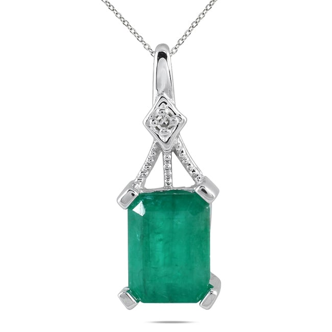 Marquee Jewels 14k White Gold Emerald and Diamond Accent Pendant