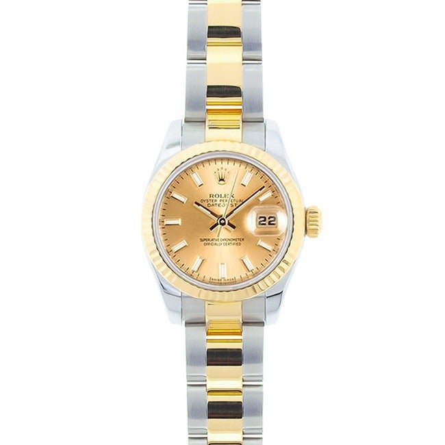 Used Pre-owned Rolex Women's Datejust Two-tone Champagne ...