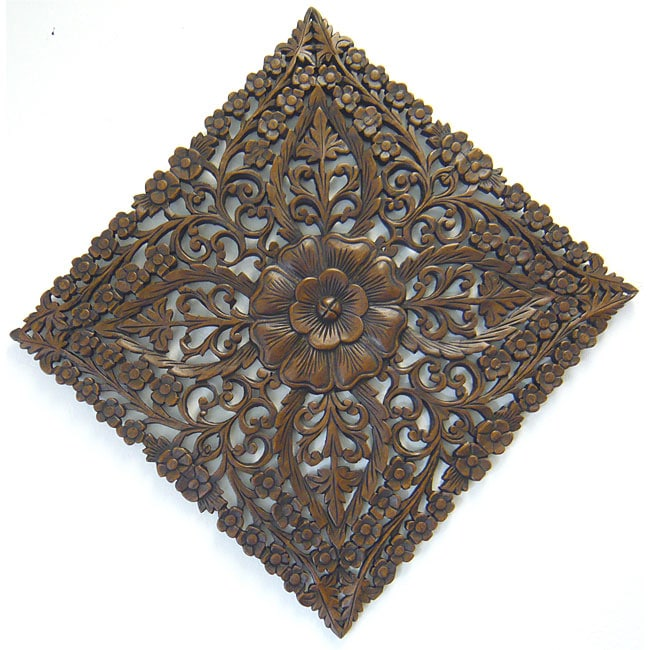 Reclaimed Teak Wood Large Lotus Wall Hanging (Thailand) - Thumbnail 0