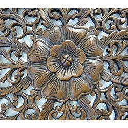 Reclaimed Teak Wood Large Lotus Wall Hanging (Thailand) - Thumbnail 1