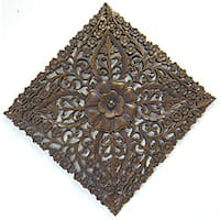 Reclaimed Teak Wood Large Lotus Wall Hanging (Thailand) - Multi