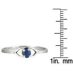 Marquee Jewels 10k White Gold Sapphire Heart Ring - Thumbnail 2