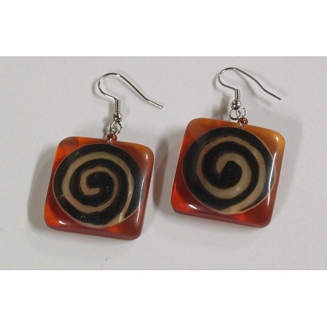 Handmade Brown Lip Shell/ Amber Resin Earrings (Philippines)