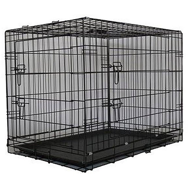 Go Pet Club Black 48-inch 2-door Dog Collapsible Folding Crate - Thumbnail 0