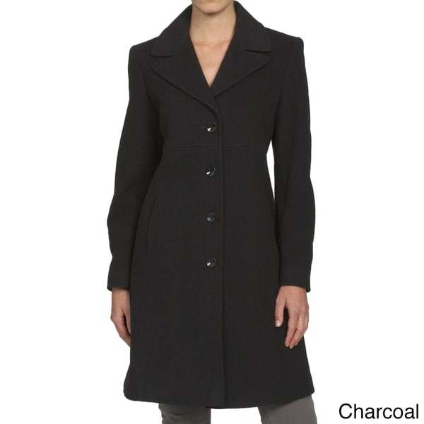 Larry Levine Women's Notch Collar Classic Wool Coat - Free ...