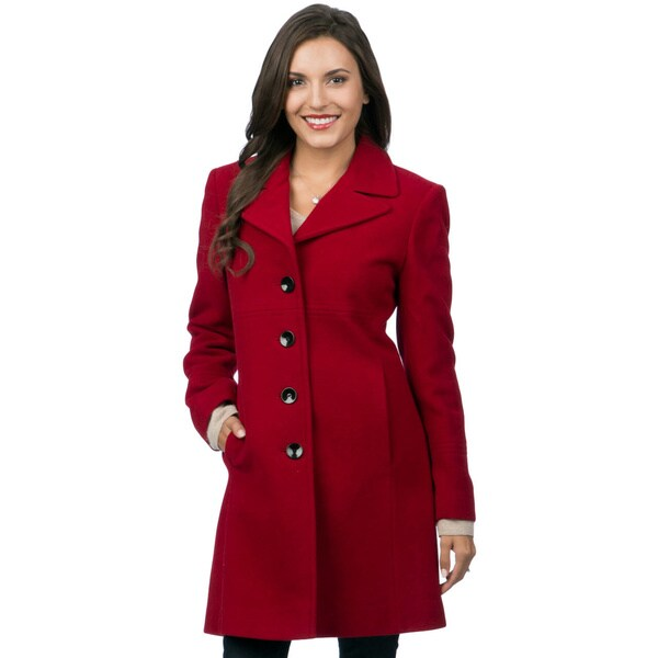 Larry Levine Women's Notch Collar Classic Wool Coat - Free ...