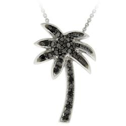 DB Designs Sterling Silver 1/10ct TDW Black Diamond Palm Tree Necklace