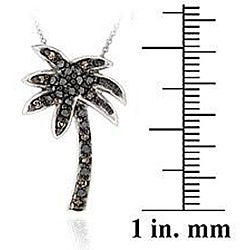 DB Designs Sterling Silver Black Diamond Accent Palm Tree Necklace
