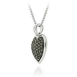 DB Designs Sterling Silver 5/8ct TDW Champagne Diamond Heart Necklace - Thumbnail 1
