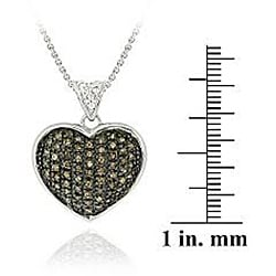 DB Designs Sterling Silver 5/8ct TDW Champagne Diamond Heart Necklace - Thumbnail 2