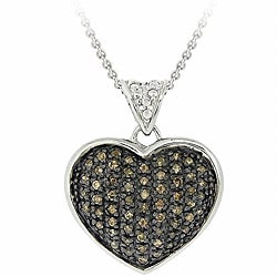 DB Designs Sterling Silver 5/8ct TDW Champagne Diamond Heart Necklace