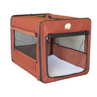 GoPetClub Brown Polyester 32-inch Folding Soft Dog Crate