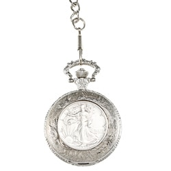 American Coin Treasures Silver Walking Liberty Half-dollar Pocket Watch