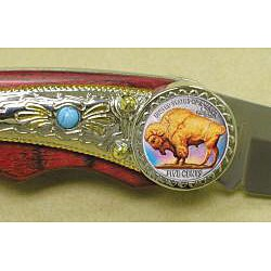American Coin Treasures Colorized Buffalo Nickel Pocket Knife - Thumbnail 1