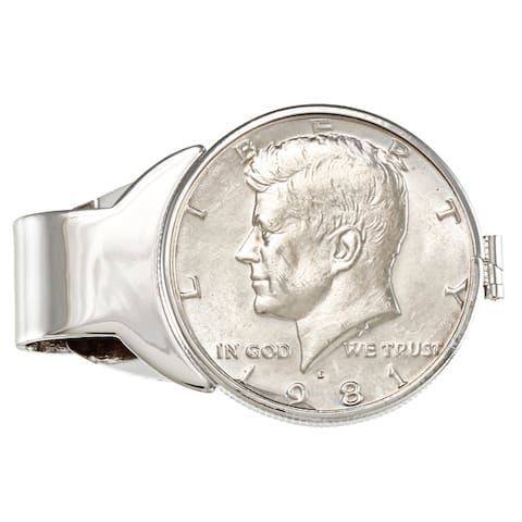 American Coin Treasures Genuine JFK Half Dollar White Metal Money Clip