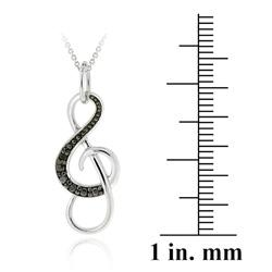 DB Designs Sterling Silver Black Diamond Accent Musical Note Necklace - Thumbnail 1