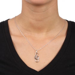 DB Designs Sterling Silver Black Diamond Accent Musical Note Necklace - Thumbnail 2