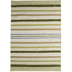 M.A.Trading Hand-woven Panama Green Stripe Wool Rug (5'6 x 7'10)