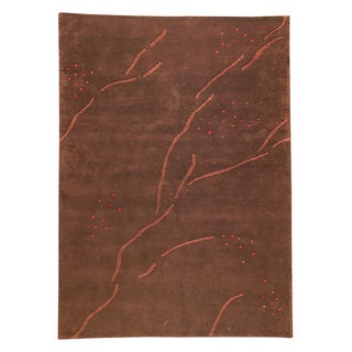 M.A.Trading Hand-knotted Indotibetan Path Abstract Brown Rug (4'6 x 6'6')