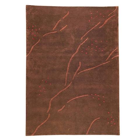 Handmade Tibetan Path Abstract Brown Rug (India) - 5'6 x 7'10