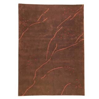 M.A.Trading Hand-knotted Indotibetan Path Abstract Brown Rug (5'6 x 7'10)