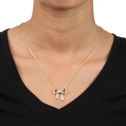 DB Designs 18k Yellow Gold over Sterling Silver Diamond Accent Bow Necklace - Thumbnail 2