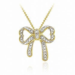 DB Designs 18k Yellow Gold over Sterling Silver Diamond Accent Bow Necklace