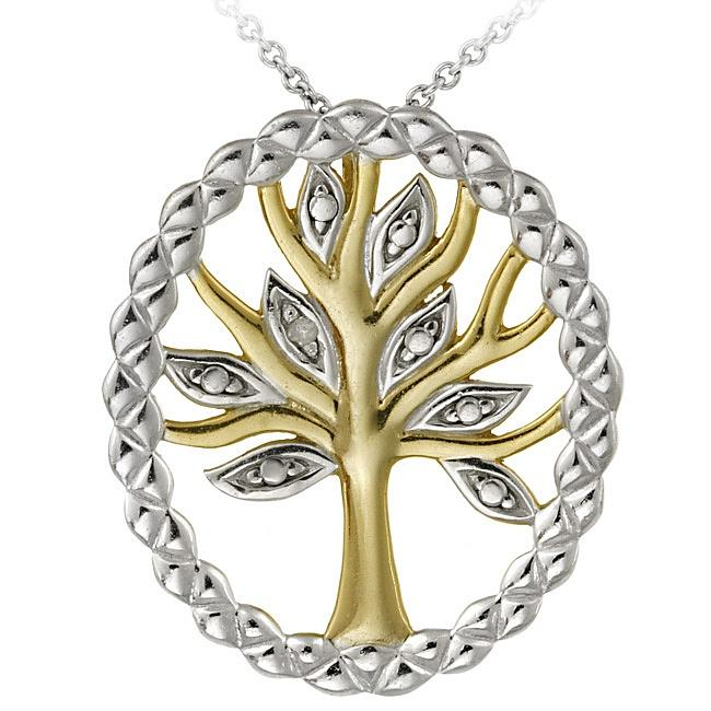 DB Designs Two-tone Sterling Silver Diamond Accent Tree of Life Necklace