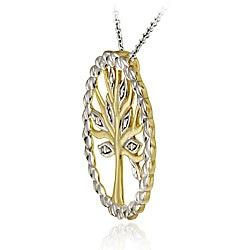 DB Designs Two-tone Sterling Silver Diamond Accent Tree of Life Necklace - Thumbnail 1