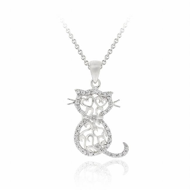 DB Designs Sterling Silver Diamond Accent Filigree Cat Necklace