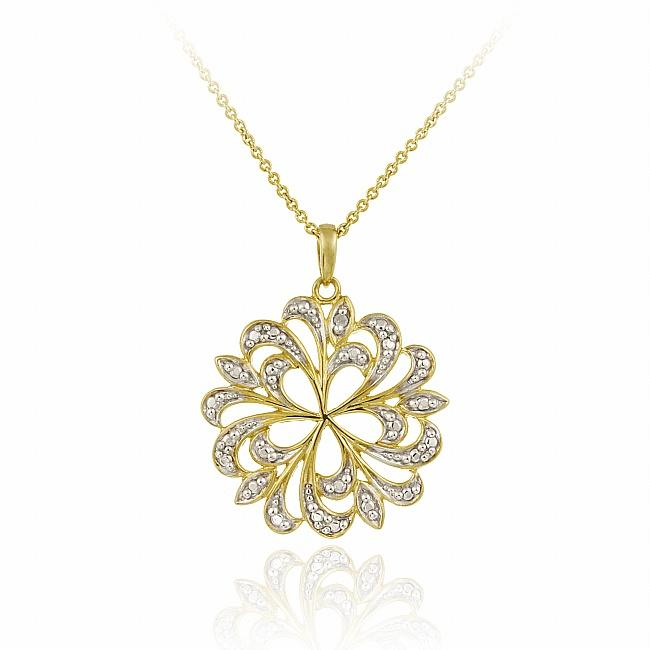 DB Designs 18k Yellow Gold over Sterling Silver Diamond Accent Flower Necklace