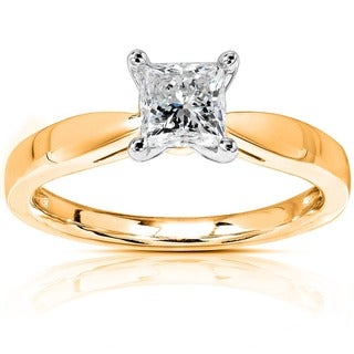 Annello by Kobelli 14k Gold 1/2ct TDW Diamond Solitaire Engagement Ring (H-I, I1-I2)