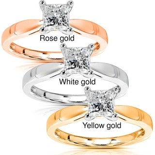 Annello by Kobelli 14k Gold 1/2ct TDW Diamond Solitaire Engagement Ring